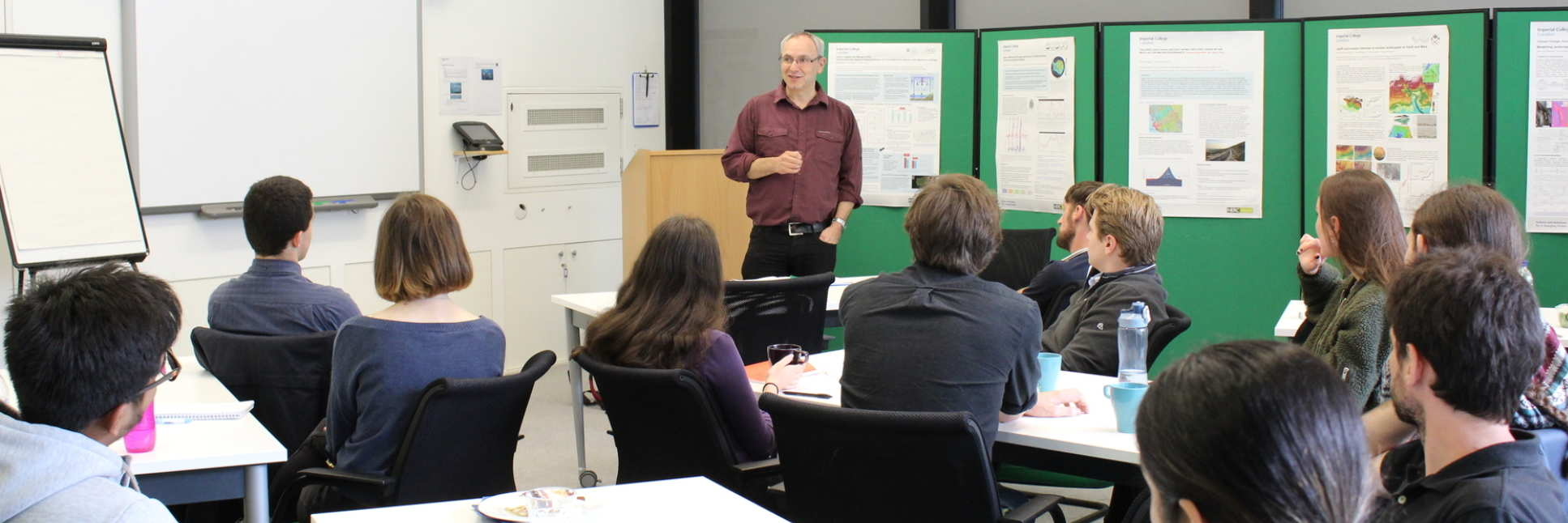 Mr Gary Kass, Natural England, gives a talk to SSCP DTP students during the Sustainability module