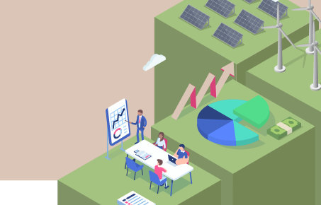 Graphic showing wind turbines, solar panels and people sitting at a desk watching a presentation