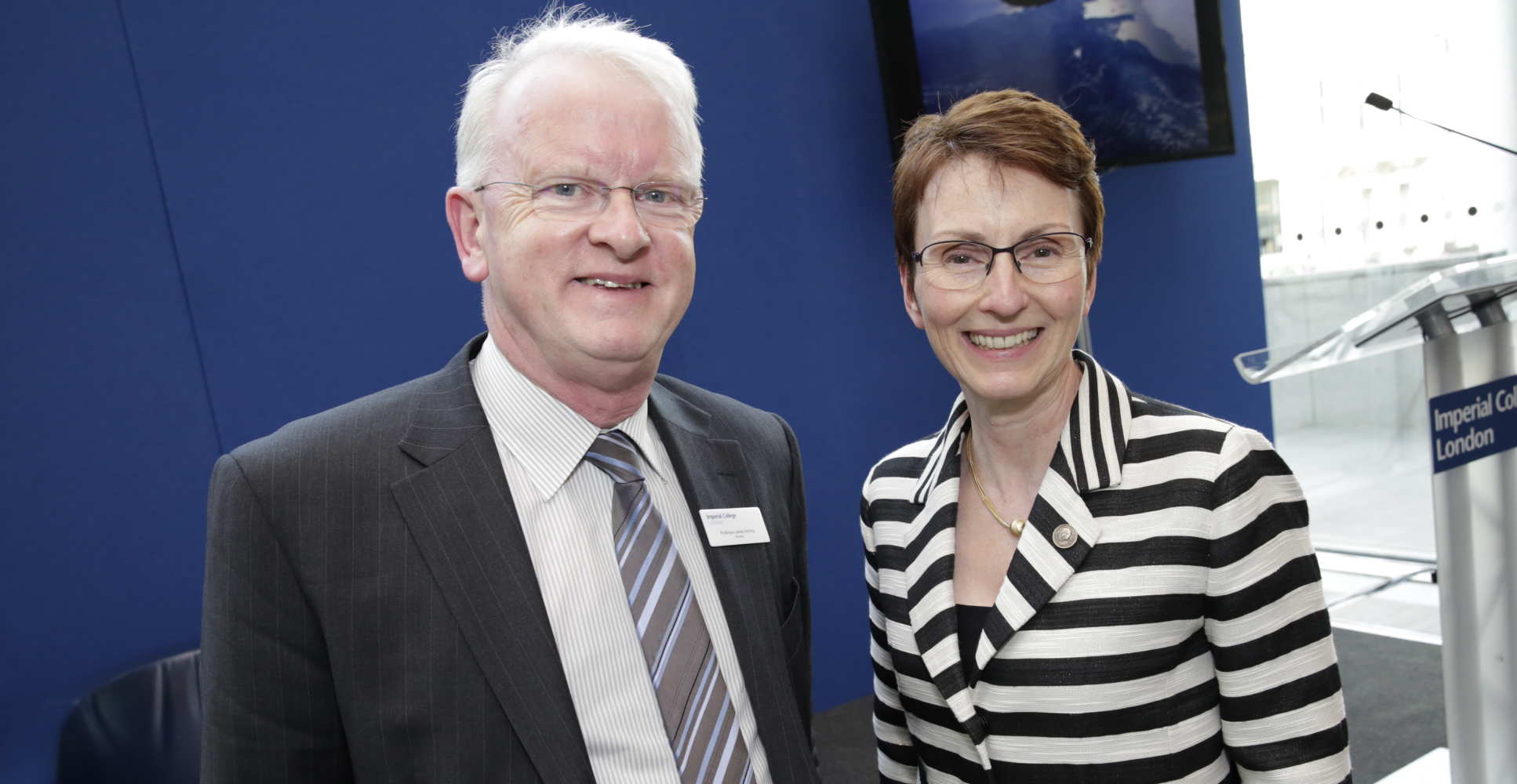 Professor Stirling with Imperial colleague and Britain's first astronaut Helen Sharman