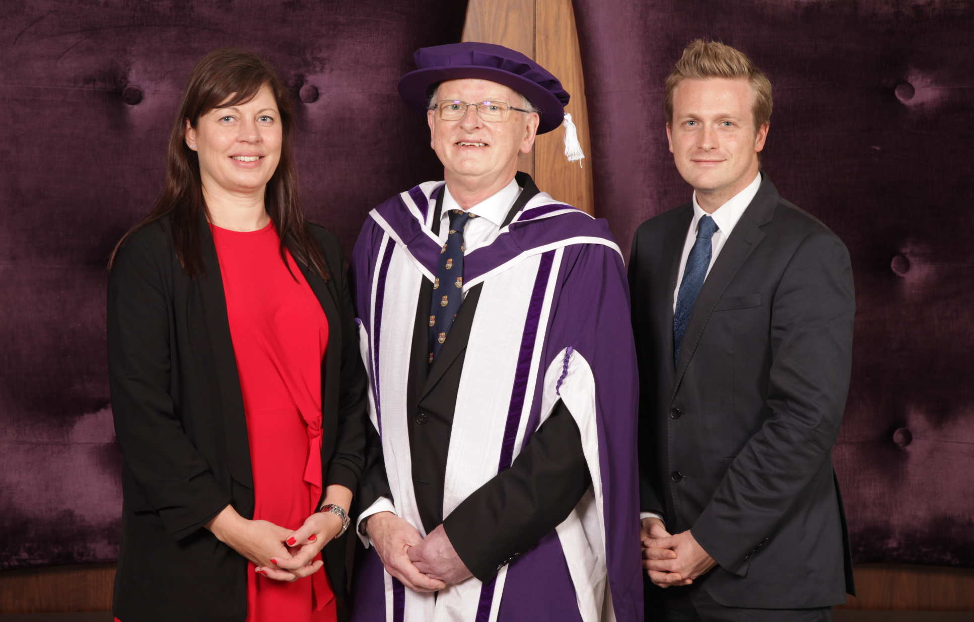 Professor Stirling with Executive Assistant Kathryn Clark and Executive Officer James McSean
