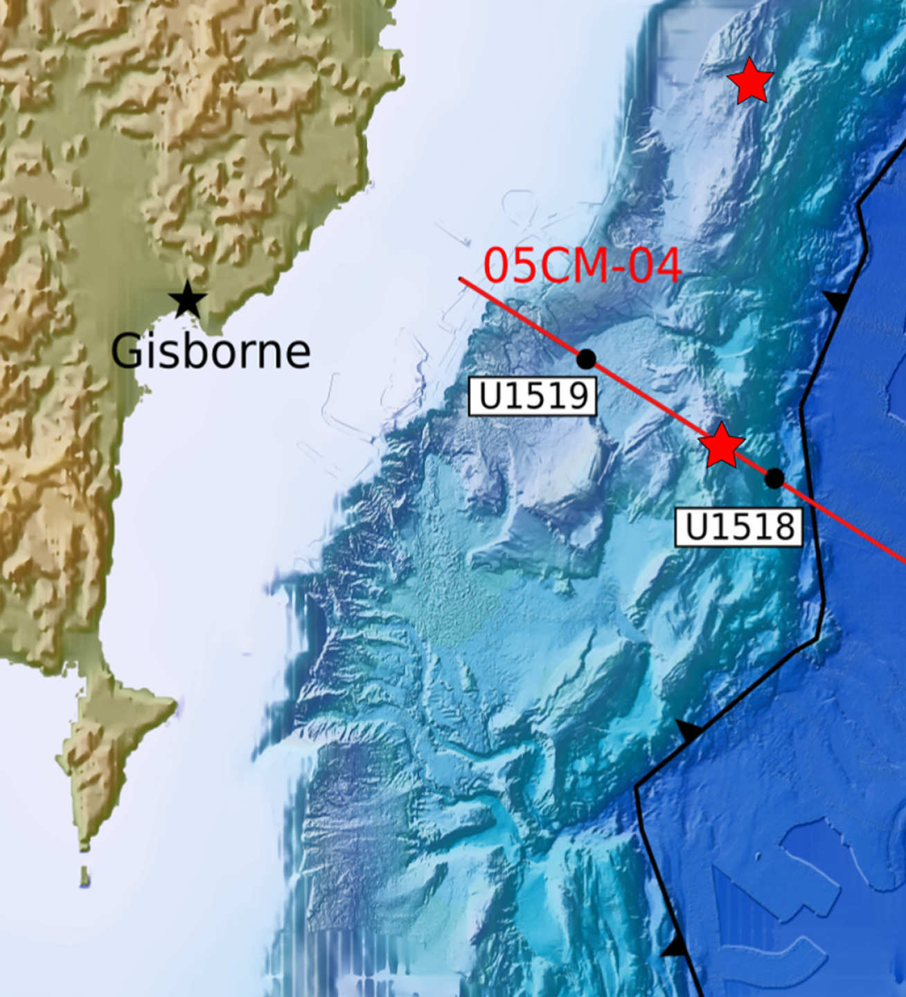 Map showing location of Gisborne city, the site of the tsunami-triggering 1947 earthquakes (red stars), and the Hikurangi subduction zone (black line)