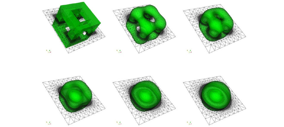 Phase field simulation of surface diffusion for a cage-like initial surface