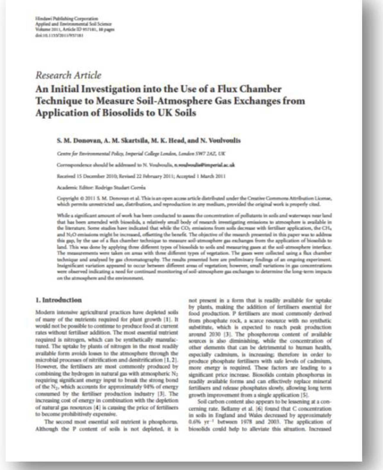 An Initial Investigation into the Use of a Flux Chamber Technique to Measure Soil-Atmosphere Gas Exchanges from Application of Biosolids to UK Soils