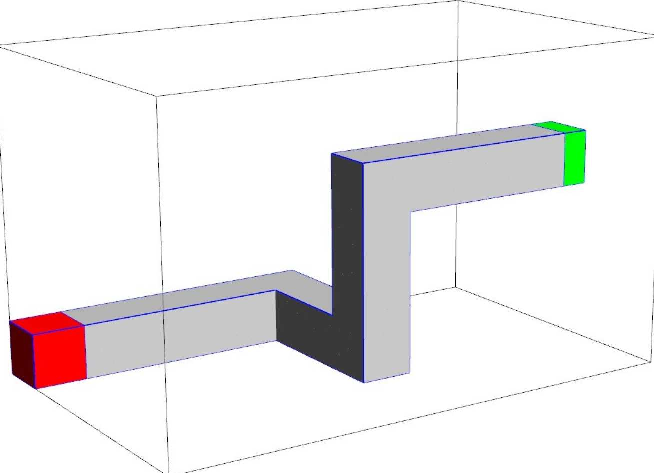 Geometry for a 3D dogleg problem. The duct region is transparent, surrounding by a heavy scattering region, with the bulk a heavy absorber. Red region is source, average flux in green region is goal.