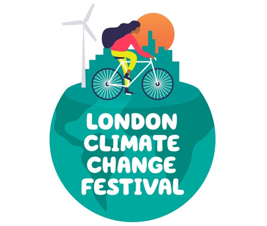 A cartoon of a woman riding her bike on top of the world with a city scape and a wind turbine behind her. The text overlay reads: London Climate Change Festival