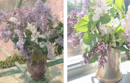 Lilac painting, and a real life photo