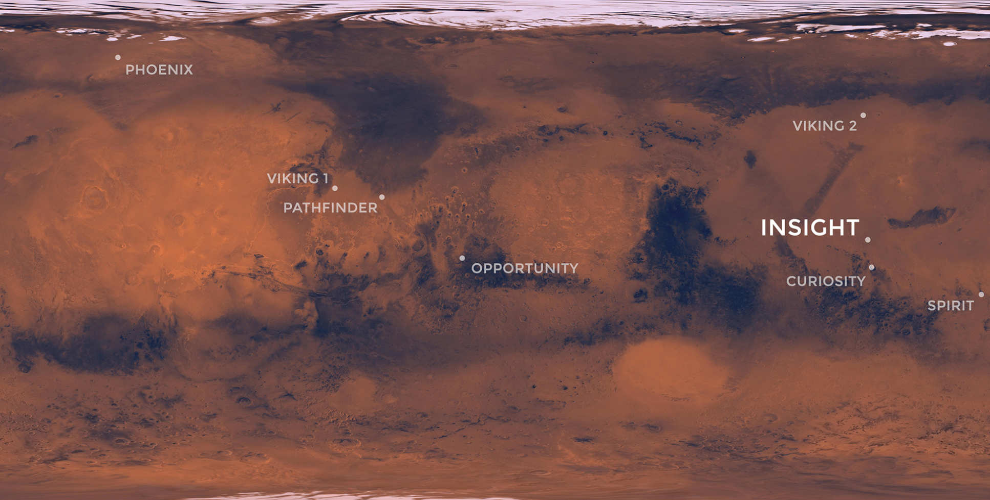 A map of Elysium Planitia, Mars.