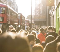 A view of the people walking through London
