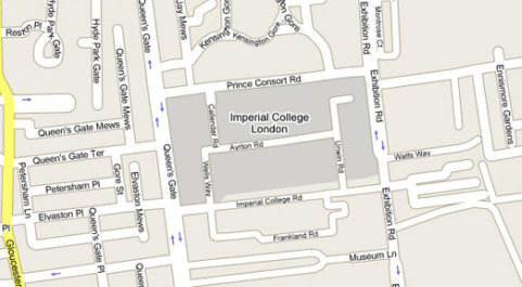 Map showing the Imperil College and it's surrounding area