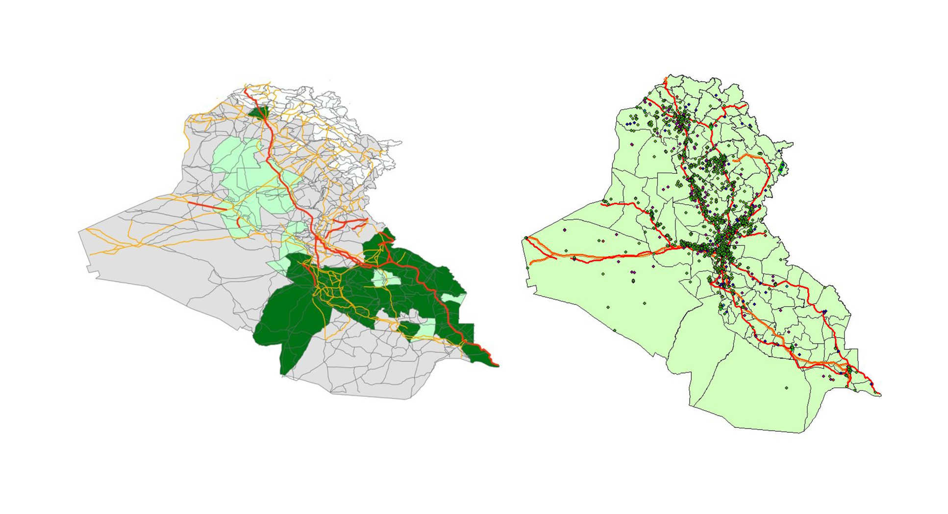 Above, left: 2003 Iraqi road network overlaid on districts. Roads are coloured by road types (main, intermediary  and other roads) and districts by their ethnosectarian split. Above, right: 2012 Iraqi road network overlaid with geolocated violent events occurring the same year.