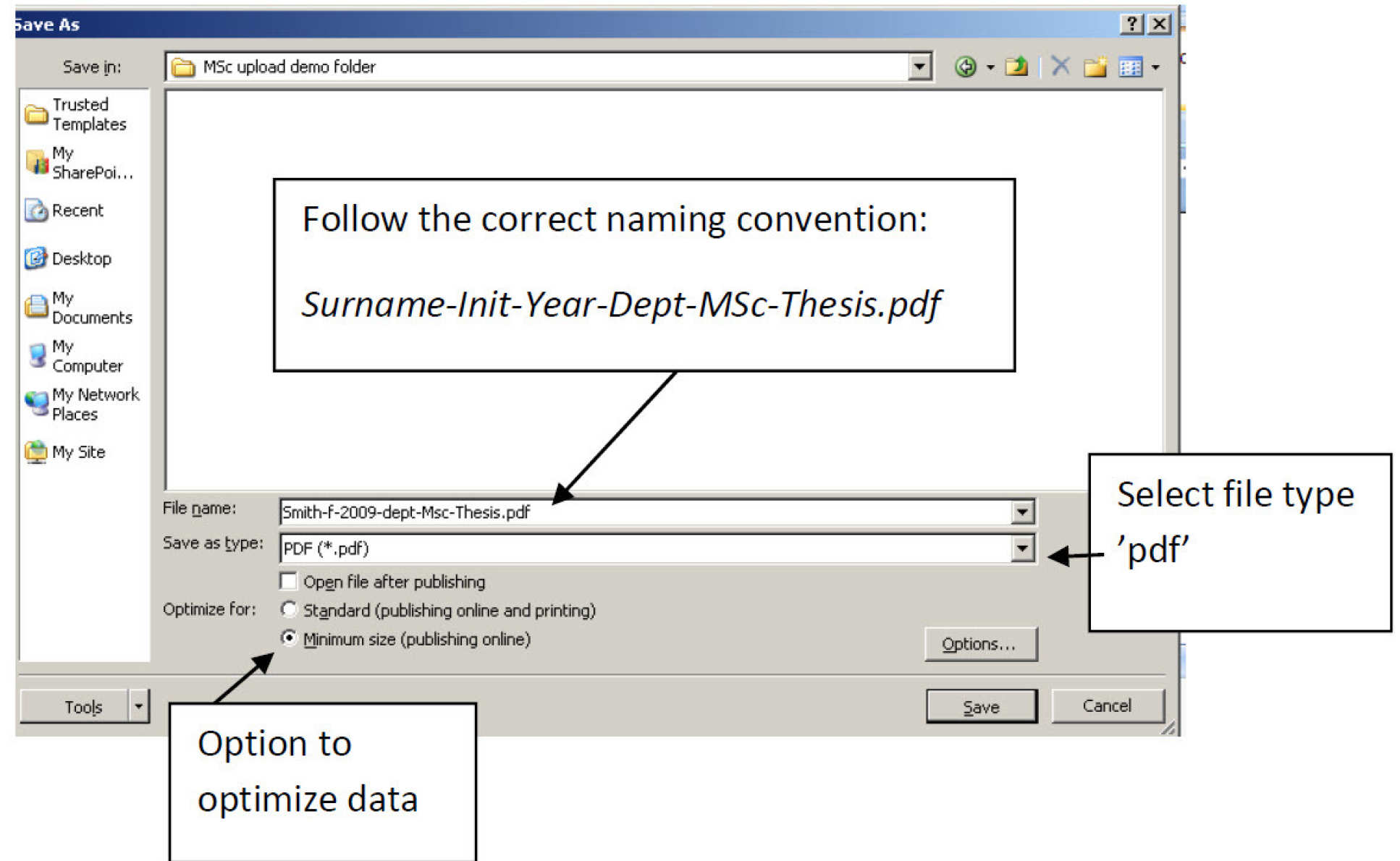 Screen image showing optimze button in Word