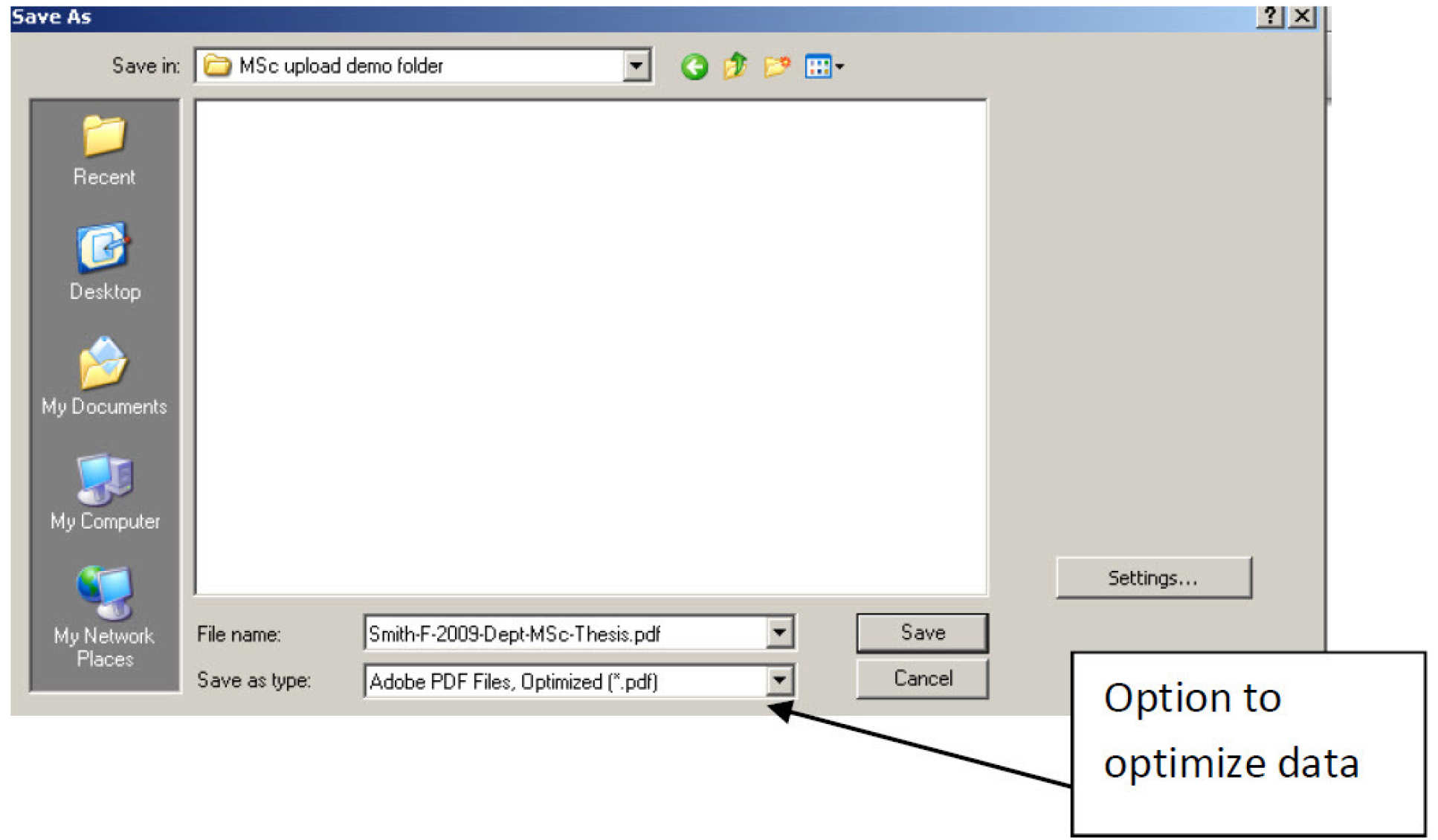 Screen image showing Optimize option in Acrobat professional