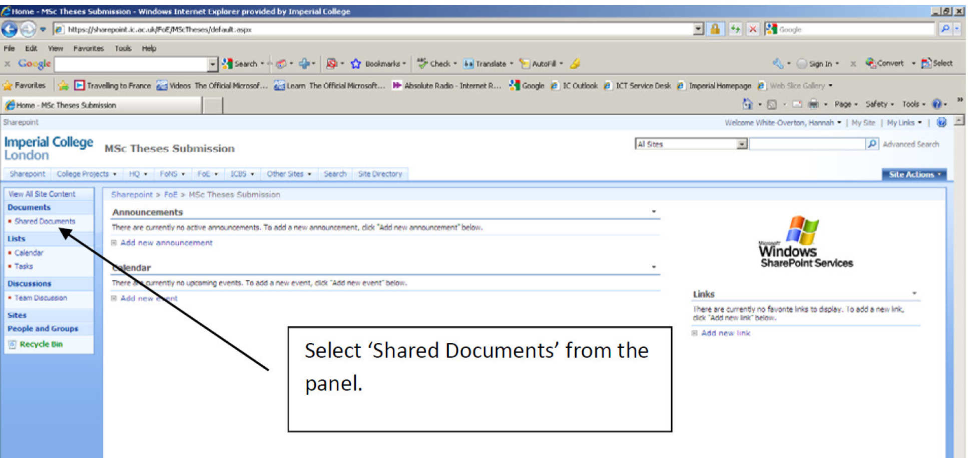Screen image showing SharePoint
