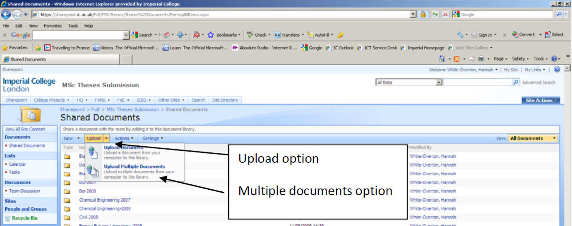 Screen image showing SharePoint upload option