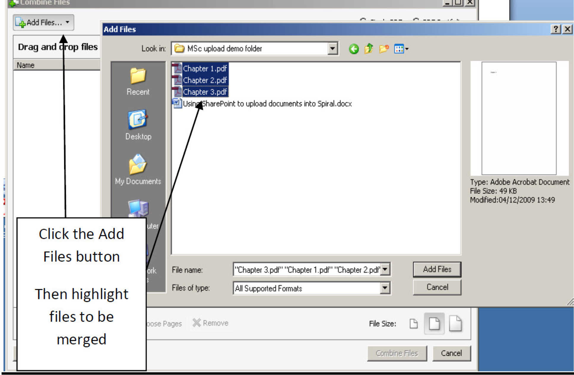 Screen image showing Add files button