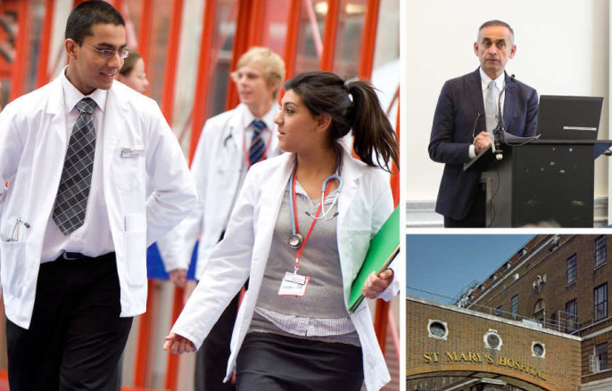 Medical students and Prof Ara Darzi at a symposium