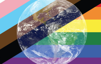 LGBTQ+ flags with an image of the planet superimposed