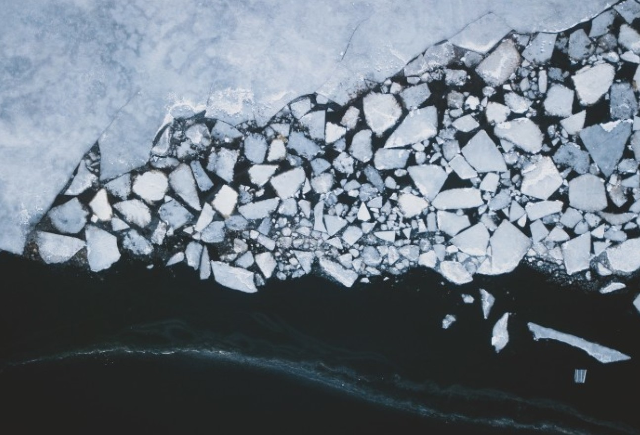 An aerial shot of arctic waters
