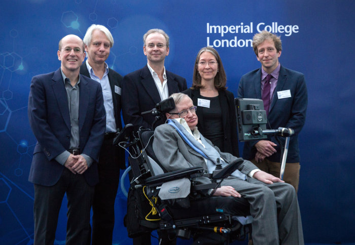 Professor Stephen Hawking with five of his former students - all now Imperial Professors