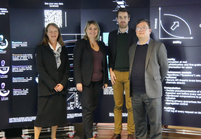 President Alice Gast, Karen Bradley MP, Dr. Yves-Alexandre de Montjoye and Professor Yi-Ke Guo in the DSI's Data Observatory.