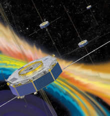 Illustration of four spacecraft around the magnetosphere