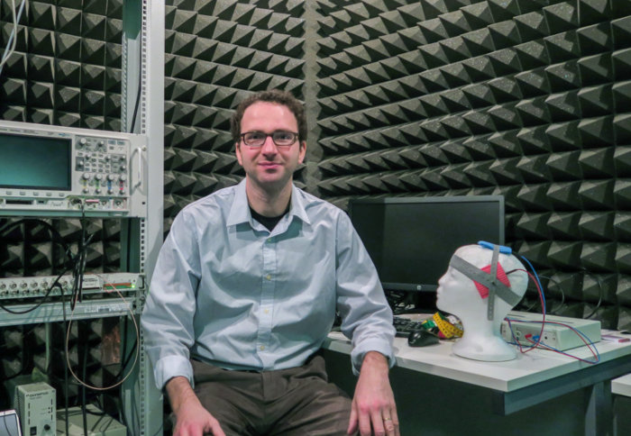 Dr Reichenbach in Imperial's sound-proof anti-echo chamber, where he conducts his research