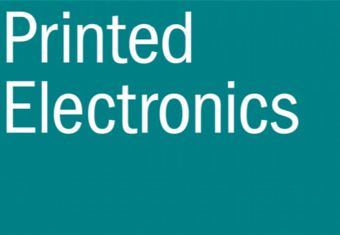 "White text ""printed electronics"" on turquoise background"