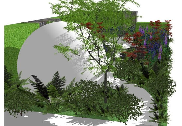 A computer illustration of the HIV garden design