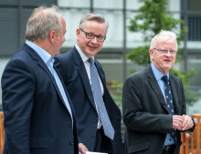 Environment Secretary Michael Gove with Vice Provost (Research and Enterprise) Nick Jennings and Provost James Stirling