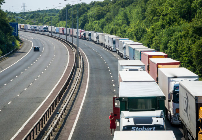 Photo depicting a queue of lorries on the M20