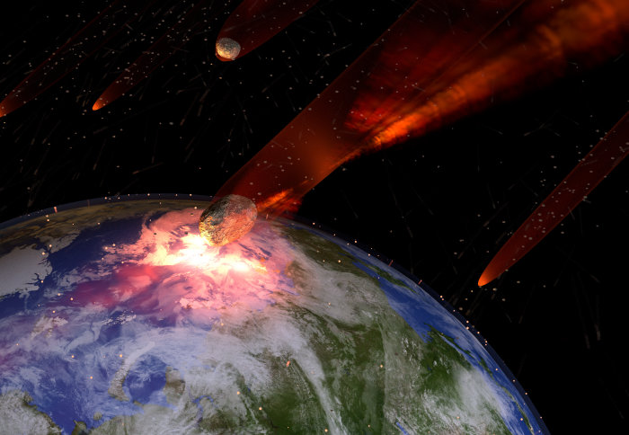 An illustration of a large asteroid strike on Earth.