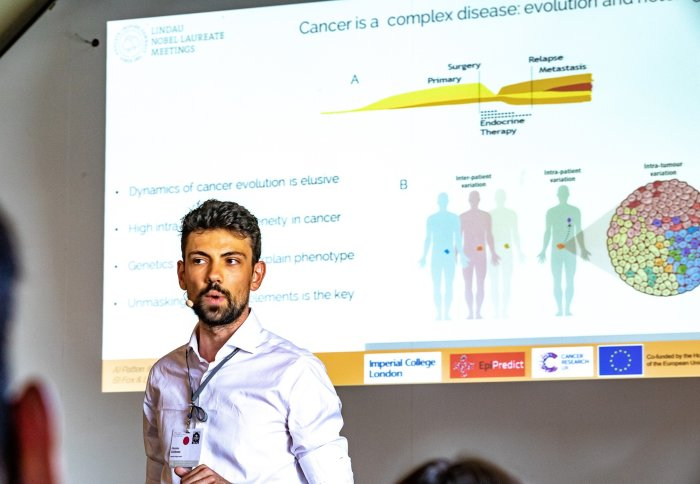 "Giacomo Corleone presenting on ""Understanding Genetic and Epigenetic Hierarchies in Cancer for Precision Medicine."""