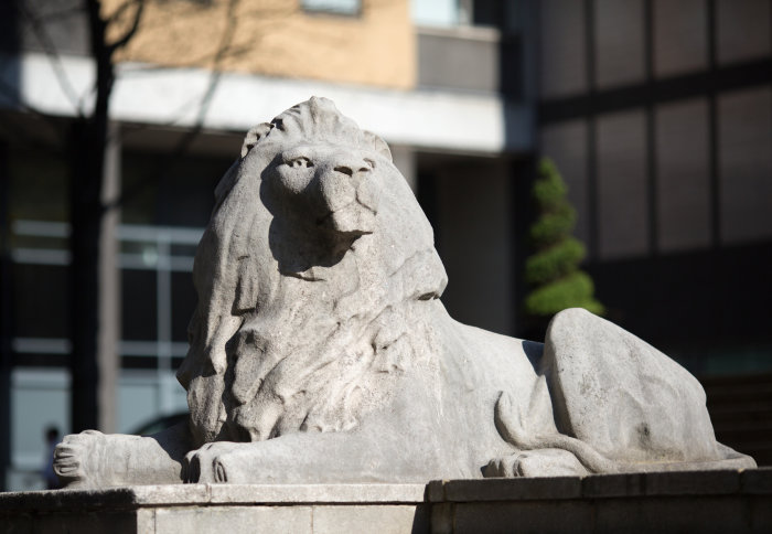 One of Imperial's stone lion mascots