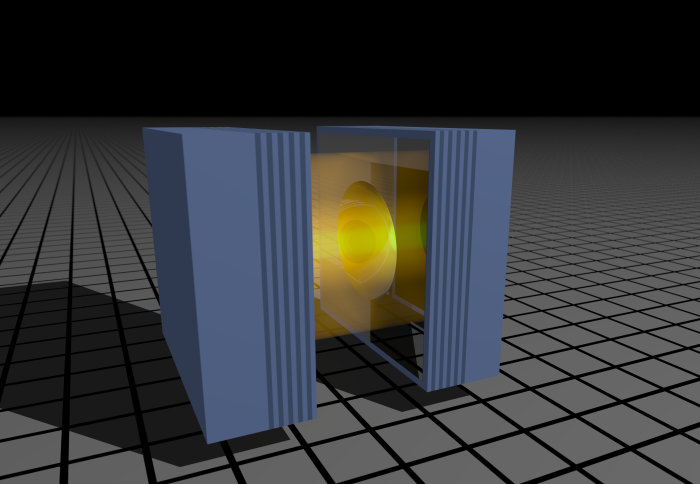 Two blue rectangle blocks with a gold cylinder between with a beam of light