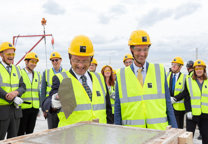 Mark and David Uren at the topping out ceremony
