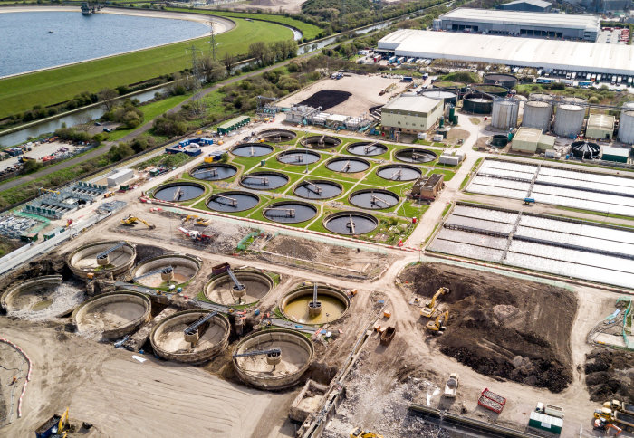 Aerial photo of Mogden Sewage Treatment Works in Isleworth.