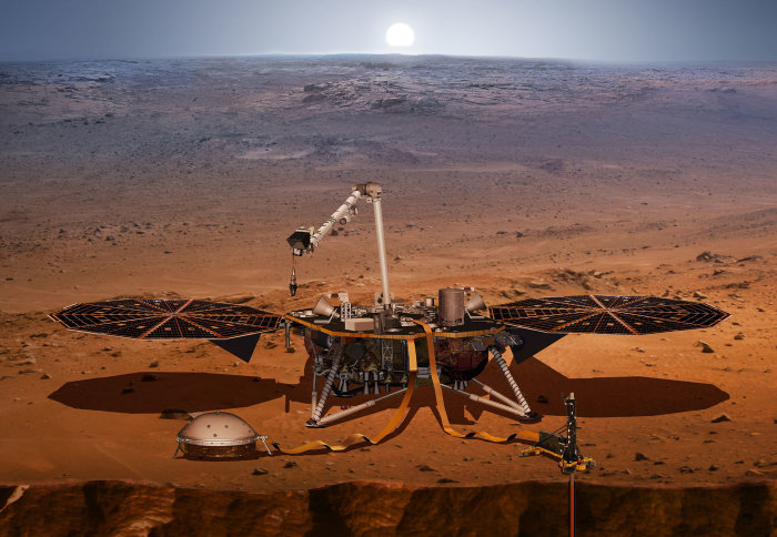 Artist's 3D rendition of the InSight lander on Mars' surface.