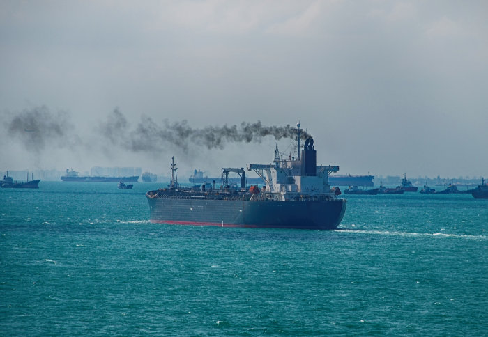 Black smoke coming from a ship