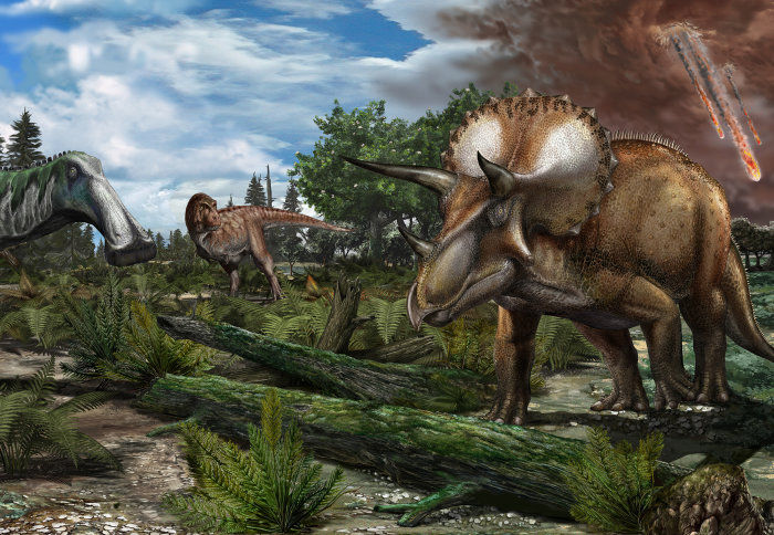 Illustration of dinosaurs as the asteroid strikes