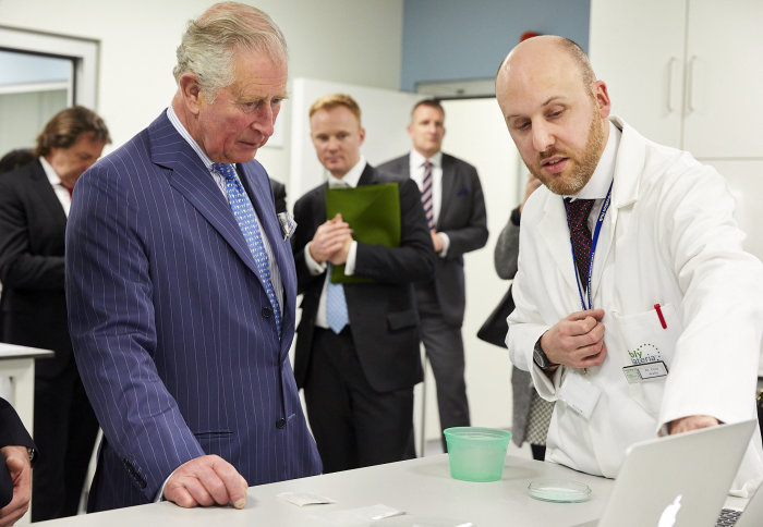 The Prince of Wales in Polymateria's lab