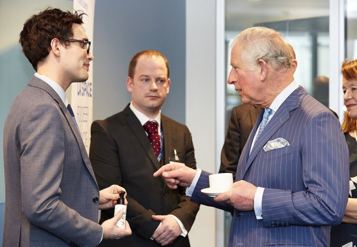 Former ICB CDT student and Fresh Check co-founder, John Simpson, meeting the Prince of Wales.