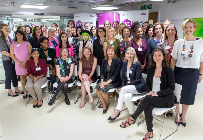 Alice Gast and Alexsis de Raadt St James with women entrepreneurs at Imperial's Enterprise Lab last year