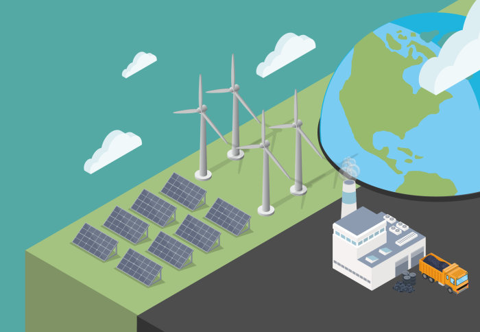 graphic showing a globe, clouds, coal factory, wind turbines and solar panels