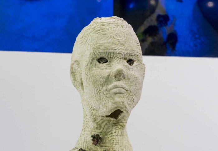 We Are You, by Miyuki Oka and Barna Soma Biro - a sculpture of a bald human head and shoulders