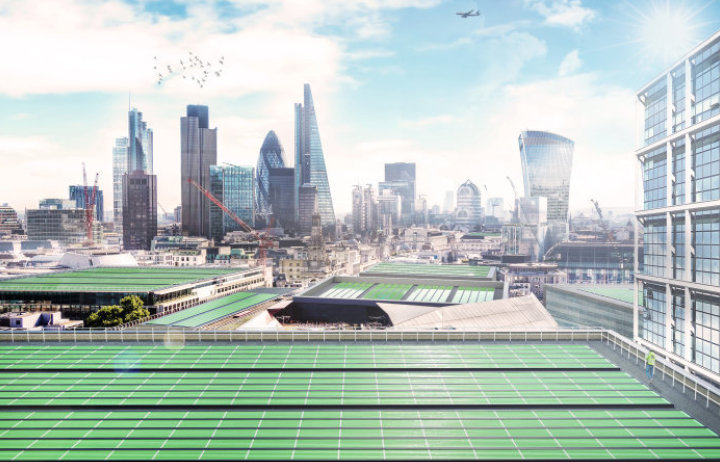 green panels on London roofs