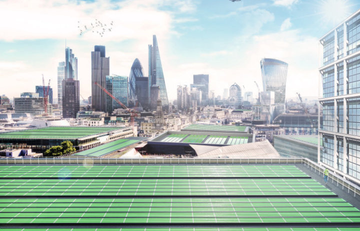 Artist impression of Arborea panels on London roofs (credit: Imperial College London // Thomas Glover)