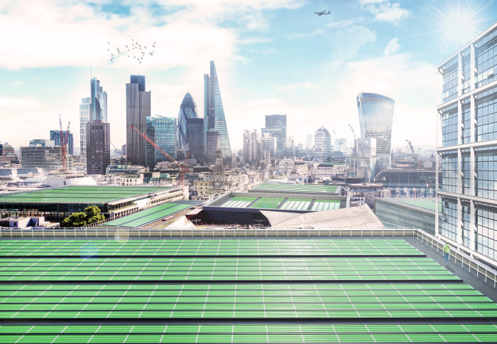 Artist impression of Arborea panels on London roofs