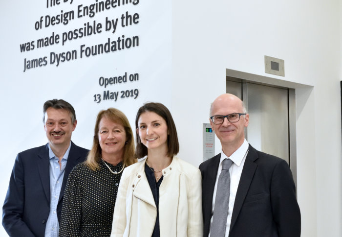 Professor Nigel Brandon, Professor Alice Gast, Dyson Foundation Global Head Lydia Beaton, and Professor Peter Childs at the building entrance