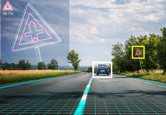 Photo of self-driving car using machine learning to recognise hazards and road signs