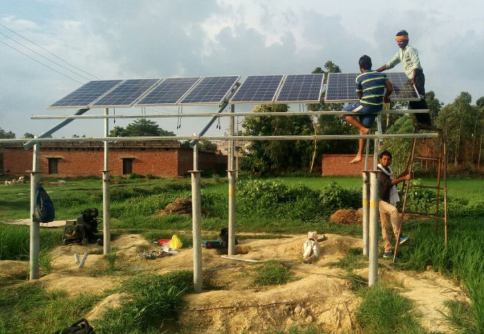 Solar pumps under construction in India